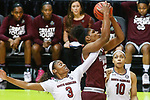 DALLAS, TX - APRIL 2: Kaela Davis #3 of the South Carolina Gamecocks reaches in as Teaira McCowan #15 of the Mississippi State Lady Bulldogs brings down a rebound during the 2017 Women's Final Four at American Airlines Center on April 2, 2017 in Dallas, Texas. (Photo by Timothy Nwachukwu/NCAA Photos via Getty Images)