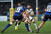 Guy Mercer of Bath Rugby in possession. Aviva Premiership match, between Worcester Warriors and Bath Rugby on February 13, 2016 at Sixways Stadium in Worcester, England. Photo by: Patrick Khachfe / Onside Images