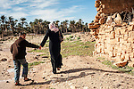 Libya, Misrata, ruins, ruined homes, poverty Arab family