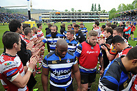 Bath Rugby players leave the field after the match. Aviva Premiership match, between Bath Rugby and Gloucester Rugby on April 30, 2017 at the Recreation Ground in Bath, England. Photo by: Patrick Khachfe / Onside Images