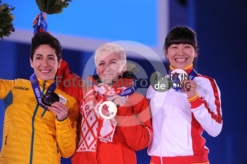 OLYMPICS: SOCHI: Medal Plaza, 15-02-2014, Freestyle Skiing, Ladies Aerials, Lydia Lassila (AUS), Alla Tsuper (BLR), Mengtao Xu (CHN),  ©photo Martin de Jong