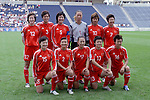 27 August 2006,  The starting lineup of the Peoples Republic of China Womens National Team: (front row)(l-r) Ren Liping, Liu Huana, Pan Lina, Wang Dandan, Liu Yali; (back row)(l-r) Zhang Tong, Li Jie, Pu Wei, Han Wenxia, Han Duan, Bi Yan.  The USA Women's National Team defeated China by a score of 4-1 in an international friendly match at Toyota Park, Bridgeview, Illinois.