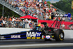 May 4, 2012; Commerce, GA, USA: NHRA top fuel dragster driver Brandon Benstein during qualifying for the Southern Nationals at Atlanta Dragway. Mandatory Credit: Mark J. Rebilas-