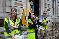 Public sector strikes over pension cuts. 10-5-12 Members of the PCS, UNITE, NUT and RMT Trade Unions strike over cuts to their pensions. The picket line at the Cabinet Office.
