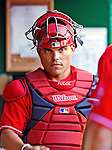 """28 August 2010: Washington Nationals catcher Ivan """"Pudge"""" Rodriguez stands in the dugout prior to a game against the St. Louis Cardinals at Nationals Park in Washington, DC. The Nationals defeated the Cards 14-5 to take the third game of their 4-game series. Mandatory Credit: Ed Wolfstein Photo"""