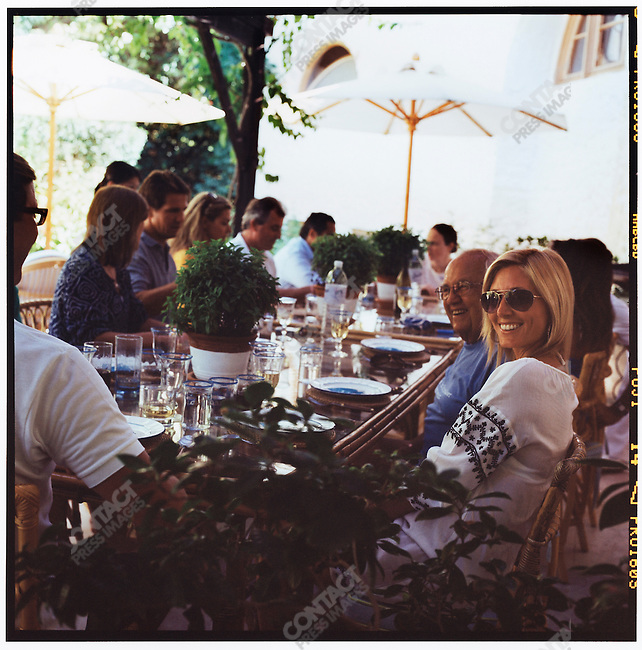 Princess Marie-Chantal, wife of Prince Pavlos, the Crown Prince of Greece, with Bluey Mavroleon, Basil Mavroleon, Annabelle Astor, Prince Pavlos, Carine Mavroleon, William Astor, Mr. Caltagerone, and Alexandra Kotur, at a lunch hosted at the Mavroleon's villa in Porto Heli. Prince Pavlos, Princess Marie-Chantal, and their family were in Greece on summer vacation. Greece, August 2007.