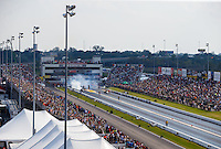 Sep 24, 2016; Madison, IL, USA; Overall view of Gateway Motorsports Park during NHRA top fuel dragster qualifying for the Midwest Nationals. Mandatory Credit: Mark J. Rebilas-USA TODAY Sports