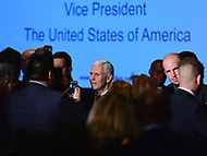 """Washington, DC - March 9, 2017: Vice President Mike Pence greets attendees of the """"Make Small Business Great Again Policy Summit"""" hosted by the Latino Coalition at the J.W. Marriott Hotel in the District of Columbia, March 9, 2017.  (Photo by Don Baxter/Media Images International)"""