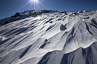 Wind-carved snows blanket the Chicago Creek Basin near Mount Evans, Colorado.