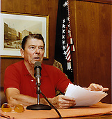 United States President Ronald Reagan gives his weekly radio speech to the Nation from Camp David, near Thurmont, Maryland on Saturday, September 11, 1982..Mandatory Credit: Jack Kightlinger - White House via CNP