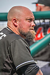 28 September 2014: Miami Marlins third baseman Casey McGehee looks out from the dugout prior to facing the Washington Nationals for the last game of the regular season at Nationals Park in Washington, DC. The Nationals shut out the Marlins with a 1-0 no-hitter going to Nationals pitcher Jordan Zimmermann. Mandatory Credit: Ed Wolfstein Photo *** RAW (NEF) Image File Available ***