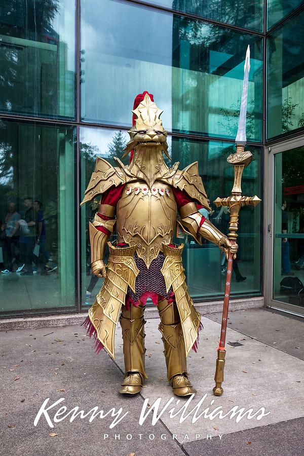 Dragon Slayer Ornstein from Dark Souls, Western Champion of Cosplay, Emerald City Comicon, Seattle, WA, USA.