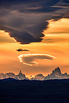 Lenticular clouds over Cerro Torre and Mount Fitz Roy, Los Glaciares National Park, Argentina