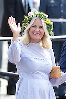 TRONDHEIM, NORWAY - JUNE 23:  Crown Princess Mette-Marit, of Norway departs for the Norwegian Royal Yacht, KS Norge, after a day of events in  Trondheim, during the King and Queen of Norway's Silver Jubilee Tour, on June 23, 2016 in Trondheim, Norway.