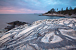 Unusual striations in the granite rocks along the Western Head Trail on Isle au Haut in Acadia National Park, Maine, USA