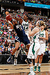 01 APRIL 2012:  Bria Hartley (14) of the University of Connecticut drives to the hoop against Devereaux Peters (14) of the University of Notre Dame during the Division I Women's Final Four Semifinals at the Pepsi Center in Denver, CO.  Notre Dame defeated UCONN 83-75 to advance to the national championship game.  Jamie Schwaberow/NCAA Photos