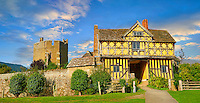 The half timbered gate house  of the  finest fortified medieval manor house in England built in the 1280s, Stokesay Castle, Shropshire, England
