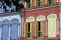 Asie/Singapour/Singapour: Tanjong Pagar - Détail de la façade des shop houses