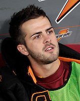 Calcio, Serie A: Roma vs Palermo. Roma, stadio Olimpico, 4 novembre 2012..AS Roma midfielder Miralem Pjanic, of Bosnia, sits on the bench during the Italian Serie A football match between AS Roma and Palermo, at Rome's Olympic stadium, 4 november 2012..UPDATE IMAGES PRESS/Riccardo De Luca