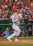 7 October 2016: Washington Nationals outfielder Bryce Harper in action during the first game of the NLDS against the Los Angeles Dodgers at Nationals Park in Washington, DC. The Dodgers edged out the Nationals 4-3 to take the opening game of their best-of-five series. Mandatory Credit: Ed Wolfstein Photo *** RAW (NEF) Image File Available ***