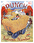 Punch - Autumn Number - 27 September 1939..Cover showing Mr Punch sleeping on a horse drawn cart full of hay..Cartoon by Punch