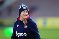 Bath Rugby Operations Manager Sophie Bennett looks on during the pre-match warm-up. Aviva Premiership match, between Harlequins and Bath Rugby on November 27, 2016 at the Twickenham Stoop in London, England. Photo by: Patrick Khachfe / Onside Images