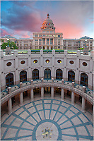 With pastels of pink and blue drifting over the State Capitol building in Austin, Texas, I captured this photo looking south at sunrise.
