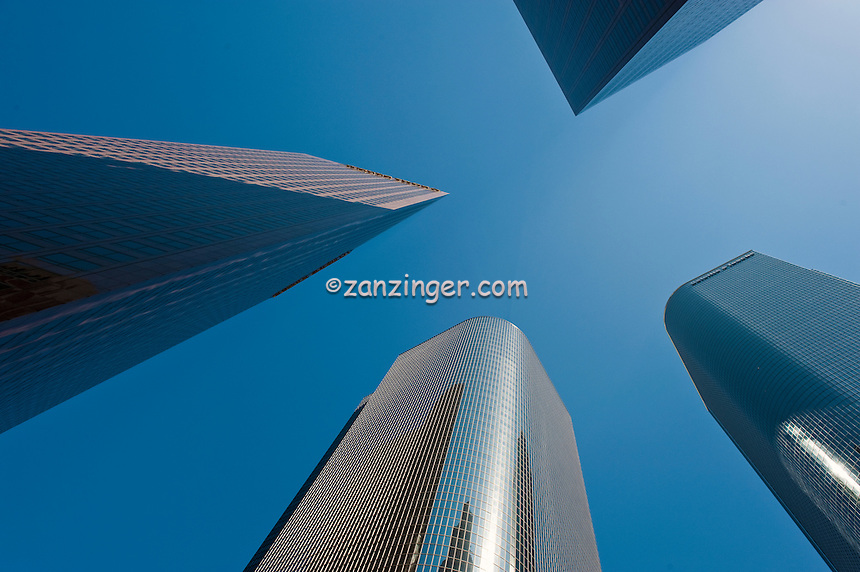 Wells Fargo Center, California Plaza, Architectural, Skyscrapers, looking up, Downtown, Tall, corporate, office buildings, Bunker Hill, Financial District, Los Angeles CA,