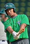 19 July 2012: Vermont Lake Monsters infielder Christopher Bostick awaits his turn in the batting cage prior to a game against the Tri-City ValleyCats at Centennial Field in Burlington, Vermont. The ValleyCats defeated the Lake Monsters 6-3 in NY Penn League action. Mandatory Credit: Ed Wolfstein Photo