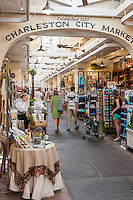 Tourists and visitors browse in the historic Charleston City Market in Charleston, South Carolina.