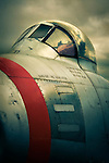 North American F-86A Sabre aeroplane cockpit close up