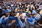 North Carolina v Duke.  Duke won 92-90 (OT).  Cameron Indoor Stadium.  Durham, NC.  Wednesday February 18, 2015.<br /> Both teams observed a moment of silence to mark the recent passing of former UNC Coach Dean Smith.<br /> <br /> (Jon Gardiner/Duke Photography)
