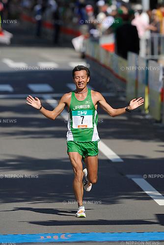 Chiharu Takada (JPN),AUGUST 28, 2011 - Marathon :Chiharu Takada finishes third in the men's race at the 2011 Hokkaido Marathon in Sapporo, Hokkaido, Japan. (Photo by AFLO)