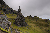 The Needle is one of the most recognizable features of the Quiraing, Trotternish ridge, Isle of Skye, Scotland. .The Quiraing is a glacier-formed rocky ridge very popular with hill walkers in the Isle of Skye. The ragged features of the Quiraing make it a very distinct landscape, and a must see spot for tourism in the Isle.