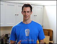 BNPS.co.uk (01202 558833)<br /> Pic: Yolkr/BNPS<br /> <br /> Hamish Dobbie with his brilliantly simple invention.<br /> <br /> Kitchen conundrum finally cracked...<br /> <br /> Entrepreneur Hamish Dobbie has come up with something worth getting egg-cited about - after cracking the age-old problem of separating yolks from the white.<br /> <br /> The YOLKR finally put's paid to the laborious, messy process of transferring golden yolks back and forward between egg shell halves.<br /> <br /> The clever contraption acts like an enormous pipette, slurping up the egg yolk before plopping it back out in one piece.<br /> <br /> It promises to be a must-have tool for recipes calling for yolks to be separated from whites including meringue, mousse, souffle and creme brulee.<br /> <br /> Mechanical engineer Hamish came up with the idea after watching a friend painstakingly trying to split eggs to make an omelette - and failing - in August 2012.<br /> <br /> Ten months later the food-safe plastic YOLKR is in production and set to fly off the shelves at &pound;18 a go.