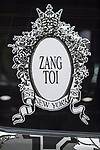 Manhattan, New York, USA. April 12, 2017. Zang Toi logo of Malaysian born international couture fashion designer is on NYFW Lexus SUV on display at the New York International Auto Show, NYIAS, at the Javits Center.