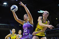 Maia Wilson takes a pass from Pulse captain Katrina Grant (right) during the ANZ Premiership netball match between the Central Pulse and Northern Stars at TSB Bank Arena in Wellington, New Zealand on Monday, 8 May 2017. Photo: Dave Lintott / lintottphoto.co.nz