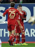 FUSSBALL   1. BUNDESLIGA  SAISON 2011/2012   12. Spieltag FC Augsburg - FC Bayern Muenchen         06.11.2011 Jubel nach dem Tor zum 0:2 Thomas Mueller , Franck Ribery (v. li., FC Bayern Muenchen)