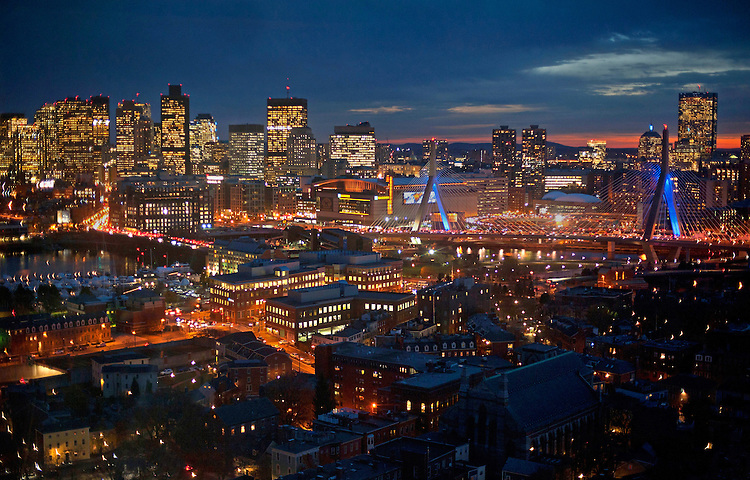 The Boston skyline including TD Garden, financial district, Back Bay, Beacon Hill, Hancock Tower and the Leonard P. Zakim Bunker Hill Bridge is seen from the Bunker Hill Monument in Charlestown on Thursday, November 21, 2013. Photo by Christopher Evans