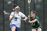 22 February 2015: Duke's Kerrin Maurer (9) and William & Mary's Abby Junior (27). The Duke University Blue Devils hosted the College of William & Mary Tribe on the West Turf Field at the Duke Athletic Field Complex in Durham, North Carolina in a 2015 NCAA Division I Women's Lacrosse match. Duke won the game 17-7.