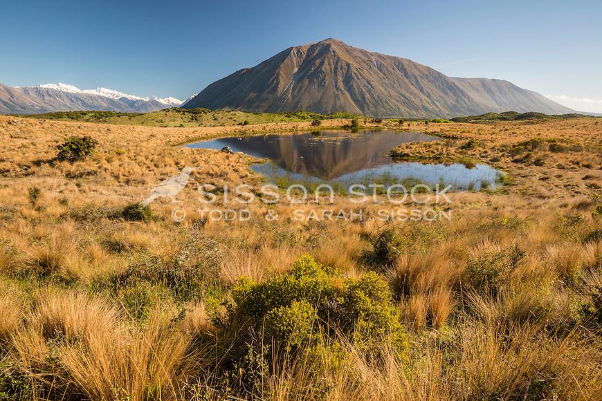 Ben Ohau / Ruataniwha Peak reflected in a pond near Lake Ohau, Canterbury, South Island, New Zealand