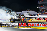 Sep 2, 2016; Clermont, IN, USA; NHRA top fuel driver Luigi Novelli during qualifying for the US Nationals at Lucas Oil Raceway. Mandatory Credit: Mark J. Rebilas-USA TODAY Sports