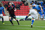 St Johnstone v Inverness Caledonian Thistle....22.02.14    SPFL<br /> Stevie May's header is straight at keeper Dean Brill<br /> Picture by Graeme Hart.<br /> Copyright Perthshire Picture Agency<br /> Tel: 01738 623350  Mobile: 07990 594431