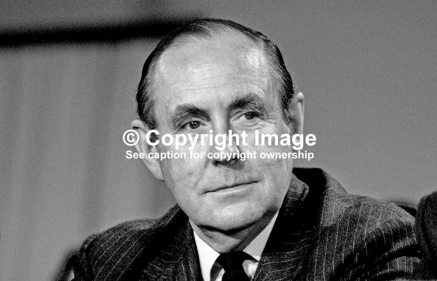 Peter Brooke, MP, Conservative Party, party chairman, UK,  on platform at annual conference, 19871033PB.<br /> <br /> Copyright Image from Victor Patterson, 54 Dorchester Park, <br /> Belfast, UK, BT9 6RJ<br /> <br /> t1: +44 28 9066 1296 (from Rep of Ireland 048 9066 1296)<br /> t2: +44 28 9002 2446 (from Rep of Ireland 048 9002 2446)<br /> m: +44 7802 353836<br /> <br /> e1: victorpatterson@me.com<br /> e2: victorpatterson@gmail.com<br /> <br /> www.victorpatterson.com<br /> <br /> Please see my Terms and Conditions of Use at www.victorpatterson.com. It is IMPORTANT that you familiarise yourself with them.<br /> <br /> Images used on the Internet must be visibly watermarked i.e. &copy; Victor Patterson within the body of the image and copyright metadata must not be deleted. Images used on the Internet have a size restriction of 4kbs and will be chargeable at current NUJ rates unless agreed otherwise.<br /> <br /> This image is only available for the use of the download recipient i.e. television station, newspaper, magazine, book publisher, etc, and must not be passed on to any third party. It is also downloaded on condition that each and every usage is notified within 7 days to victorpatterson@me.com<br /> <br /> The right of Victor Patterson to be identified as the author is asserted in accordance with The Copyright Designs And Patents Act (1988).