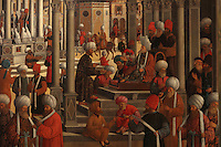 Detail from Episodi della vita di San Marco, or Scenes from the Life of St Mark, with the Sultan ordering his arrest, 1525-26, Renaissance painting by Giovanni Mansueti, 1465-1527, in the Gallerie dell'Accademia, Venice, Italy. The scene is set in a square in Alexandria, with Venetian inspired architecture and crowds of European and Mamluk men. This was 1 of 3 paintings completed by Mansueti for the Scuola Grande di San Marco. Picture by Manuel Cohen