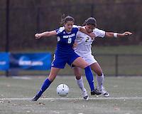 Hofstra University forward Salma Tarik (8) shields Boston College midfielder Chelsea Regan (2) from ball.  Boston College defeated Hofstra University, 3-1, in second round NCAA tournament match at Newton Soccer Field, Newton, MA.