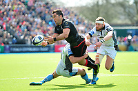 Brad Barritt of Saracens offloads the ball after being tackled. European Rugby Champions Cup Quarter Final, between Saracens and Glasgow Warriors on April 2, 2017 at Allianz Park in London, England. Photo by: Patrick Khachfe / JMP