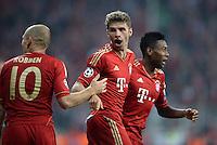 FUSSBALL  CHAMPIONS LEAGUE  HALBFINALE  HINSPIEL  2012/2013      FC Bayern Muenchen - FC Barcelona      23.04.2013 Torjubel: Arjen Robben, Thomas Mueller und David Alaba (v.l., alle FC Bayern Muenchen)
