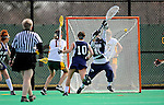 9 April 2008: University of Vermont Catamounts' Midfielder Kristen Millar, a Junior from Whitby, Ontario, scores against the University of New Hampshire Wildcats at Moulton Winder Field, in Burlington, Vermont. The Catamounts rallied to defeat the visiting Wildcats 9-8 in America East divisional play...Mandatory Photo Credit: Ed Wolfstein Photo