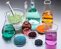 LABGLASS CONTAINING TRANSITION METAL COMPOUNDS<br /> (Variations Available)<br /> Solids &amp; Solutions in Mortar, Flasks &amp; Watchglass<br /> Pyrex and Kimax borosilicate glassware which is in a range of heat- and chemical-resistant glasses prepared by fusing together boron(III) oxide, silicon dioxide, and, usually, a metal oxide.